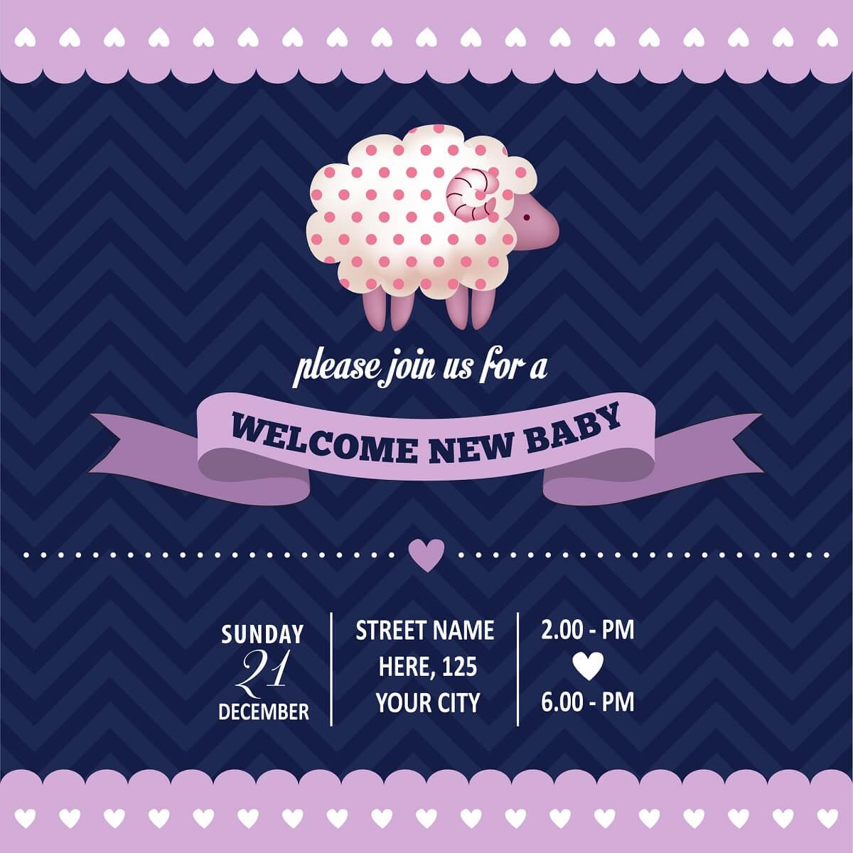 Babyparty Einladung - Eine typische Einladungskarte zur Babyparty in den USA
